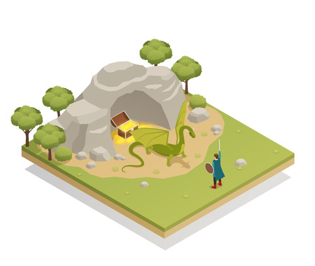 Fairy tale isometric composition with brave knight challenging guarding treasures dragon at cave entrance vector illustration