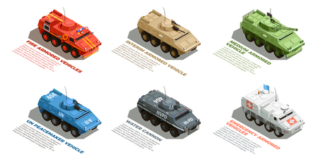 Armored vehicles with description isometric images collection with fire emergency and water cannon vector illustration Ilustração