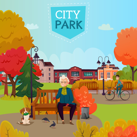 Autumn city park cartoon vector Illustration of elderly man with cane sitting on bench and dog watching pigeons Stock fotó - 92705589