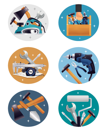Carpenter, repairman or construction worker's tools realistic compositions round icons with colorful background collection vector illustration Illustration