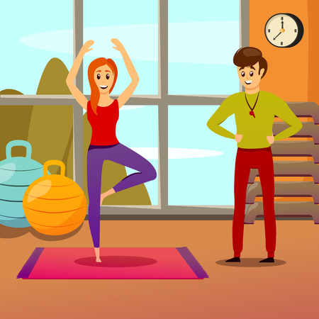 Personal yoga trainer and young woman in standing position on mat vector illustration Imagens - 92705591