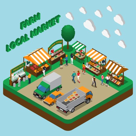 Farm local market isometric composition vector illustration