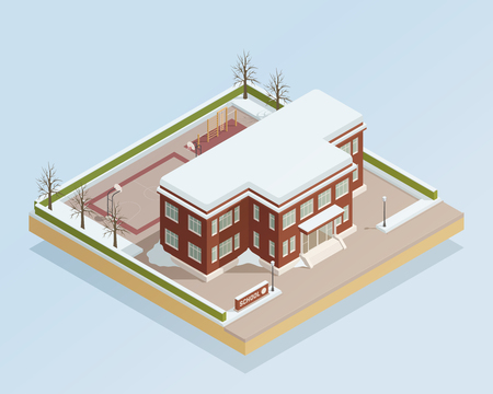 Winter landscape with college high school building with adjacent with adjacent sports areas isometric composition vector illustration Illustration