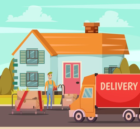 Courier service delivery moment orthogonal composition with truck and dispatcher man with parcels at door vector illustration
