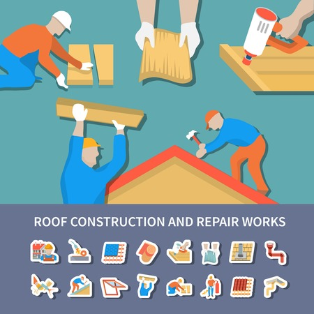 Roofer flat and colored composition with roof construction and repair works description vector illustration