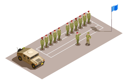 Military contingent row with division commander saluting to superior officer isometric composition with army utility vehicle vector illustration