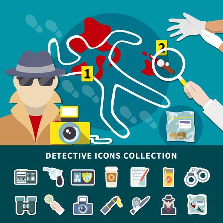 秘密の監視殺人捜査と犯罪現場ベクトルイラストを持つアイコンコレクション付きの探偵アイコンセット  イラスト・ベクター素材