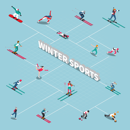 Winter sport isometric people flowchart with isolated figures of winter games athletes with lines and text vector illustration Illustration