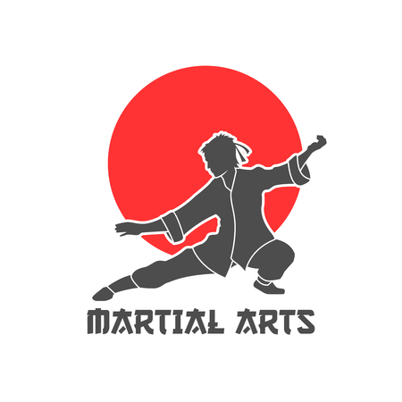Martial arts logo in Japanese design with sun and kimono flat vector illustration