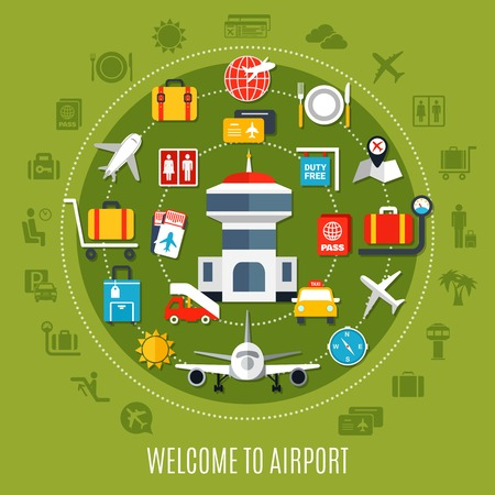 International airport welcome air travel passengers    flat ad poster with available service symbols circle green background vector illustration Stok Fotoğraf - 92712538