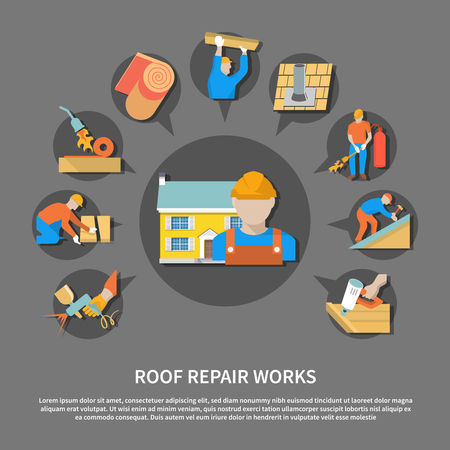 Roofer flat flyer with roof repair works description and colored colored icon set vector illustration Illustration