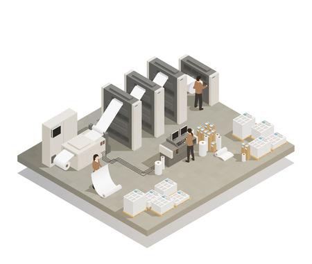 Proceso de producción de la prensa rotatoria de la instalación de la casa de la impresión con el equipo industrial y la ilustración del vector de la composición isométrica del personal de funcionamiento Ilustración de vector