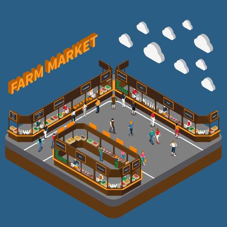 La composición isométrica del mercado local de la granja con las nubes del texto 3d y el mercado moderno de la comida urbana con la gente vector la ilustración