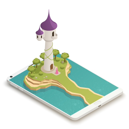 Tall fairy tale tower and beautiful golden-haired girl  beneath isometric composition on smartphone screen vector illustration