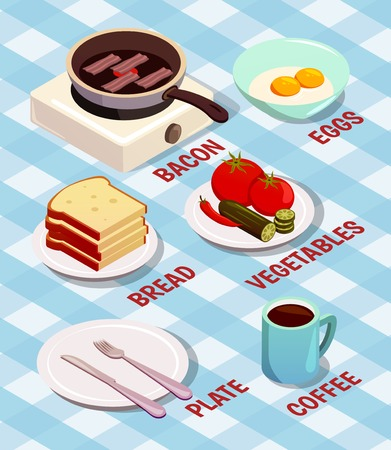 프라이팬, 빵, 계란, 커피, 접시, 수 저와 벡터 일러스트 레이 션에 베이컨과 음식 조리 아이소 메트릭 컴포지션 일러스트