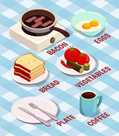 Voedsel koken isometrische samenstelling met spek op pan, brood, eieren, koffie, bord en bestek vectorillustratie