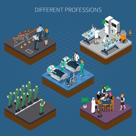 Professions uniform isometric people composition with images of human characters in detail clothing doing their job vector illustration