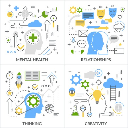 Mental activity flat linear design concept with psychological health, relationships, creativity, thinking process isolated vector illustration