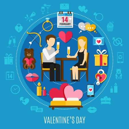 Round Valentines day composition with combined icon set about romantic date vector illustration