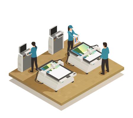 Skomputeryzowany wielkoformatowy cyfrowy sprzęt prasowy i operatorzy w nowoczesnej drukarni ilustracji wektorowych składu izometrycznego obiektu
