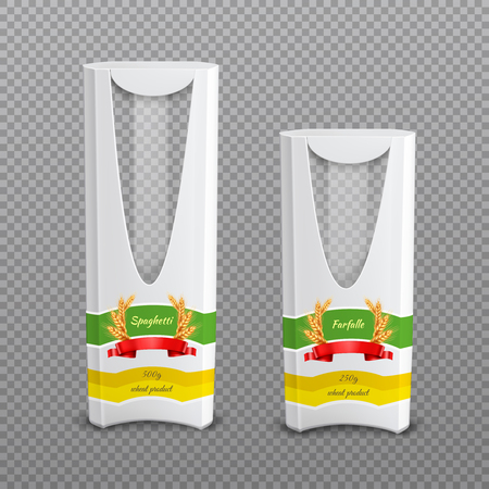 Set of realistic empty cardboard pasta packages with plastic window isolated on transparent background vector illustration Illustration