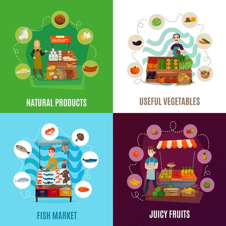 Los iconos del concepto de comida en la calle con símbolos de mercado plano aislado vector illustration Foto de archivo - 92712905