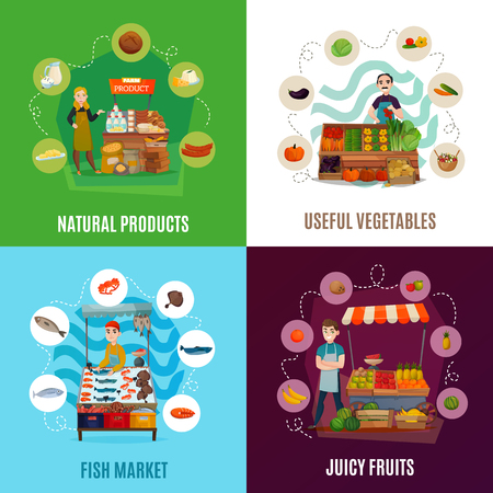 Street food concept icons set with market symbols flat isolated vector illustration