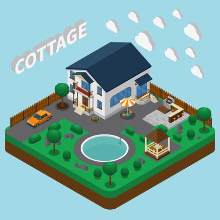 Isometrische huissamenstelling met afbeeldingen van twee verdiepingen tellende huis bouwen en aangrenzend grondgebied met ronde zwembad vectorillustratie