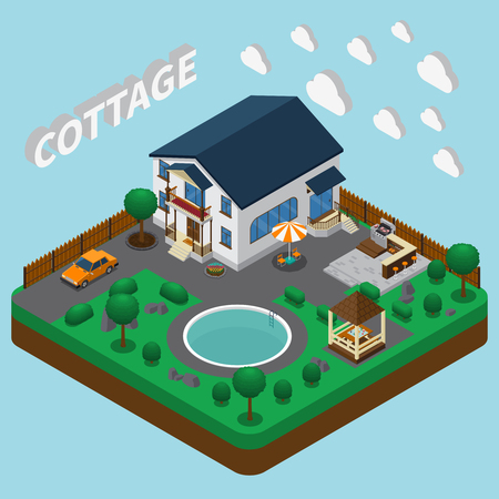 Isometric house composition with images of two-story cottage building and adjacent territory with round pool vector illustration