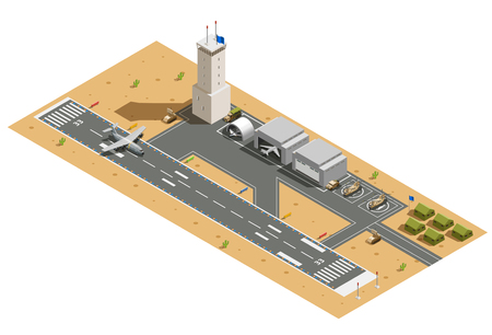Military air force base army facilities with hangars  helicopters vehicles and landing aircraft isometric composition vector illustration