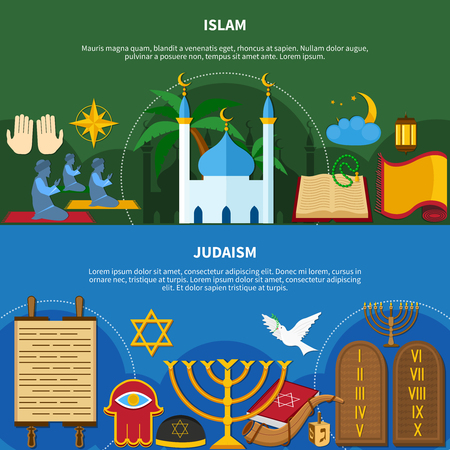 Two flat and horizontal religions flyer set or banners with islam and Judaism descriptions vector illustration Illustration