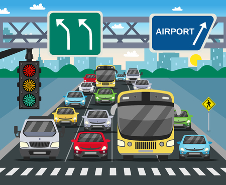 Red traffic light signal on busy street flat image with vehicles standing at zebra crossing vector illustration Vettoriali