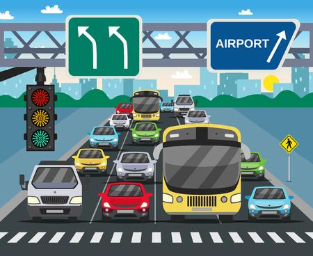 Sinal de semáforo vermelho na imagem plana rua movimentada com veículos em pé na ilustração vetorial de passadeira