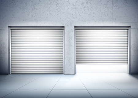 Garage with two entrances in grey color realistic composition with opening of door vector illustration