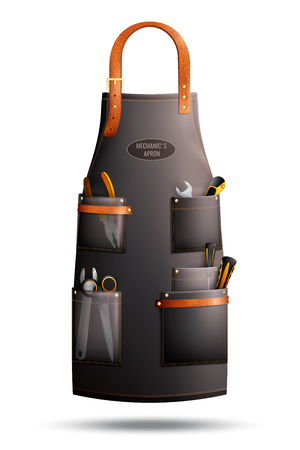 Realistische bruine schort voor monteur met etiket, werkende hulpmiddelen in zakken die op witte vectorillustratie worden geïsoleerd als achtergrond