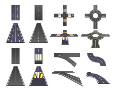 白い背景ベクトルイラストに分離されたマーキングパースペクティブとトップビューを持つアスファルト道路部品のセット