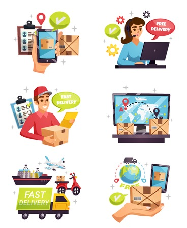 Free shipment worldwide express delivery company courier service 6 isolated flat compositions collection vector illustration vector illustration