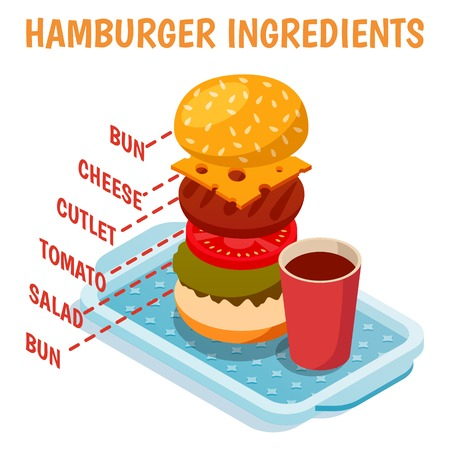 Hamburger ingredients isometric composition including bun, cutlet, cheese, tomato, salad and drink on blue tray vector illustration