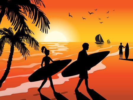 夕日ビーチヨットの鳥やヤシの木の背景ベクトルイラストにサーフボードを持つサーファー。