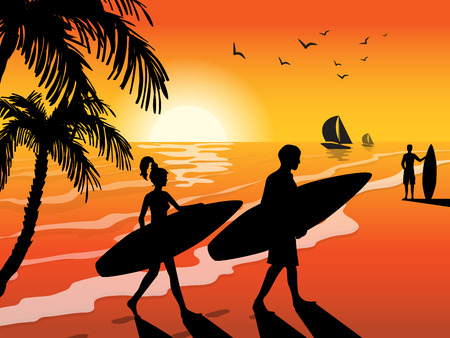 Surfers with surfboards on sunset beach sailboat birds and palm tree background vector illustration.