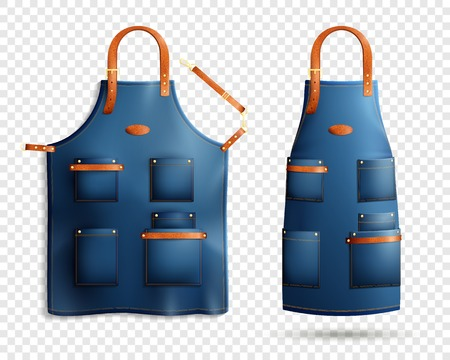 Set of realistic blue aprons with pockets, leather loop and belt isolated on transparent background vector illustration