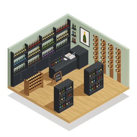 Wine shop interior isometric composition with counter cash register and shelves of vine bottles vector illustration