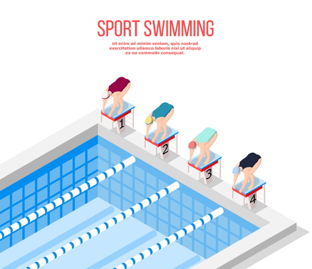 Isometric swimming pool background composition with editable text and four athletes taking marks before race competition vector illustration Stock Illustratie