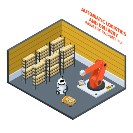 Automatic logistics and delivery isometric composition with warehouse symbols vector illustration Illustration