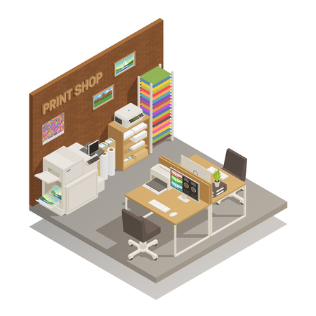 Printshop studio interior to print mobile and desktop photos documents cards t-shirts isometric composition vector illustration