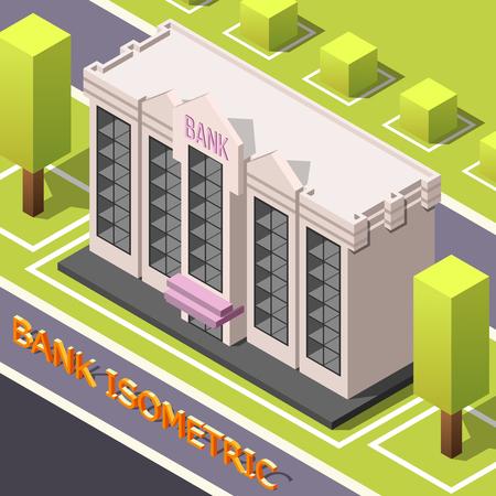 都市街路風景立方木と銀行本社ビルとテキストベクトルイラストを用いてアイソメ会計の背景