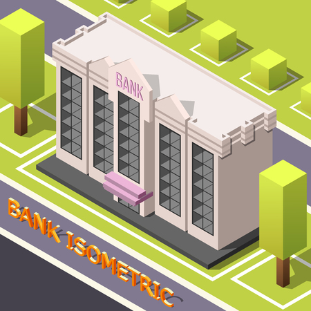Isometric accounting background with urban street scenery cubic trees and bank head office building with text vector illustration