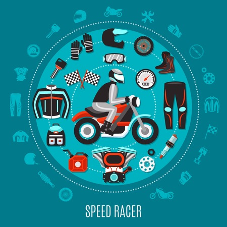 Speed Racer round design with set of motorcycle spare parts and biker gear decorative icons flat vector illustration  Иллюстрация