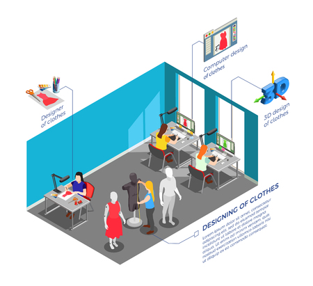 Fashion clothing factory designers workplace with garments models and patterns developers at work isometric composition vector illustration
