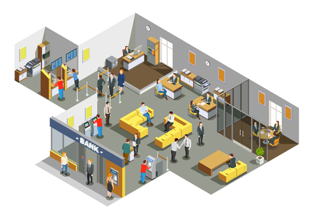 Bank offices interior with customers in waiting area and accounting clerks attending clients isometric composition vector illustration  일러스트